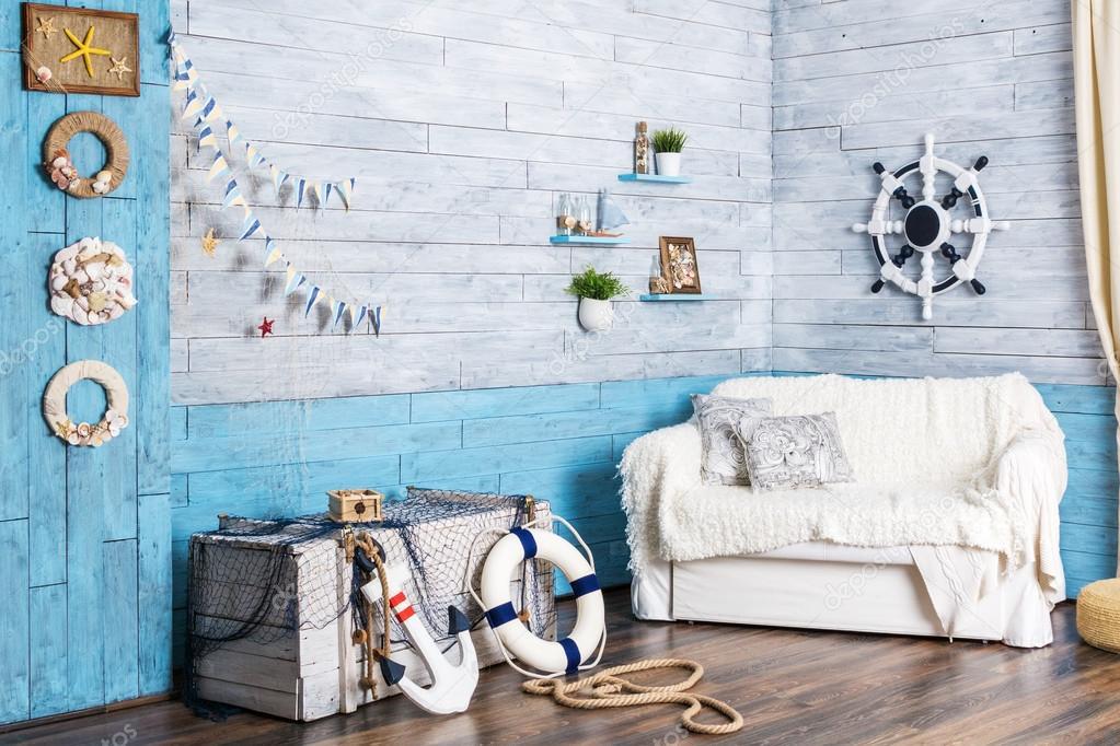 Sugestie amenajare in alb si albastru - decor de vara