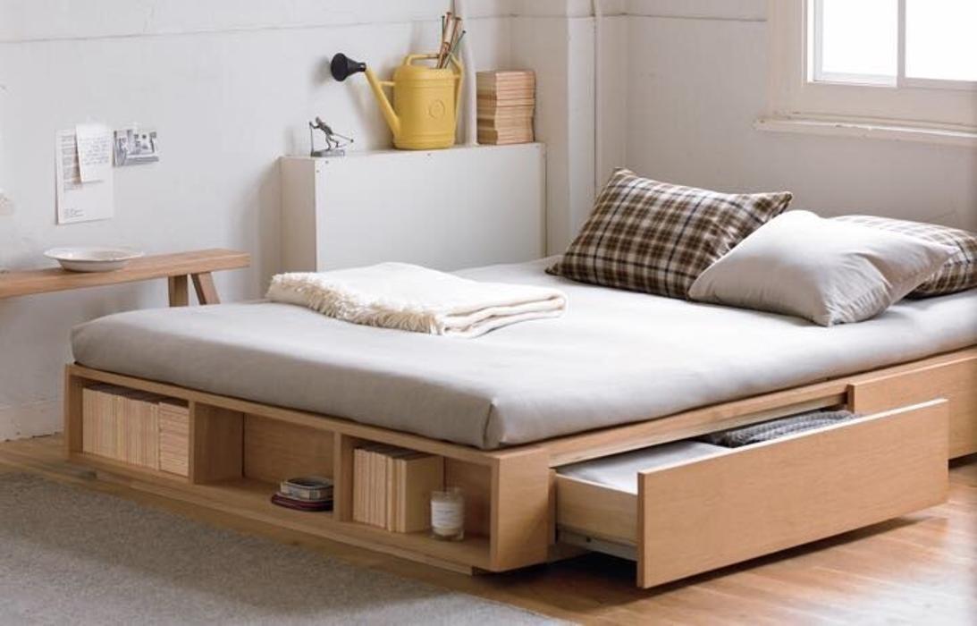 Amenajari interioare case mici - spatii depozitare pat